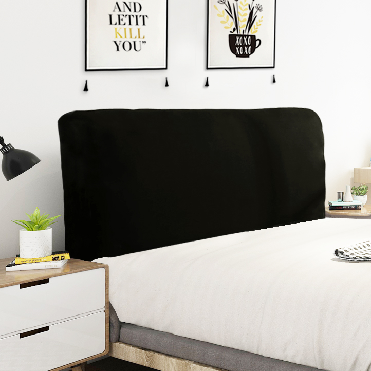 Solid Black Color Elastic Bed Head Cover Full Enclosed Elastic Dust-proof Bed Head Cover/ Protective Cover