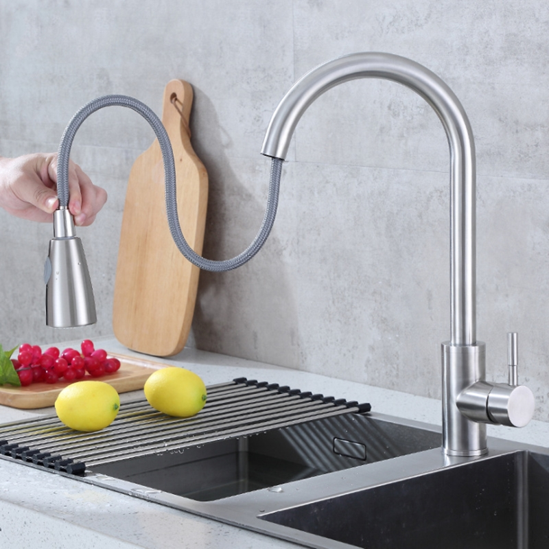 Kitchen Faucets Single Handle Pull Out Kitchen Tap Swivel Degree Water Mixer Tap Brushed Spring Button Nozzle Water Faucet