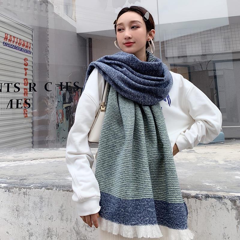 Brand 2019 Winter Solid Cashmere Scarf Women Thick Shawls Wraps Lady Scarves Fashion Pashmina Blanket Foulard Bandana Hijab