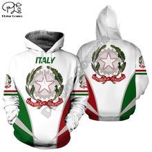 Wo для мужчин итальянский флаг 3d по всей печати одежда толстовки унисекс с длинным рукавом толстовки пуловер на молнии спортивный костюм