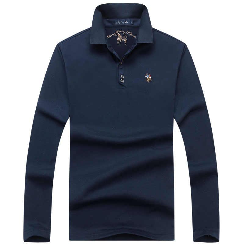 코 튼 고품질 남성 폴로 자 수 통기성 캐주얼 긴 소매 셔츠 셔츠 단색 폴로 유럽 크기 M-3XL;YA281