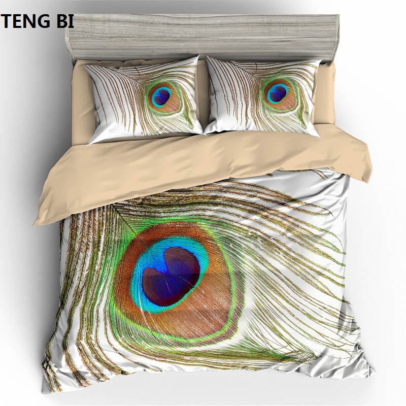 New fashion simple style home textile digital printing peacock pattern bedding set US Australia EU country size 3PCS bedding(China)
