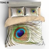New fashion simple style home textile digital printing peacock pattern bedding set US Australia EU country size 3PCS bedding
