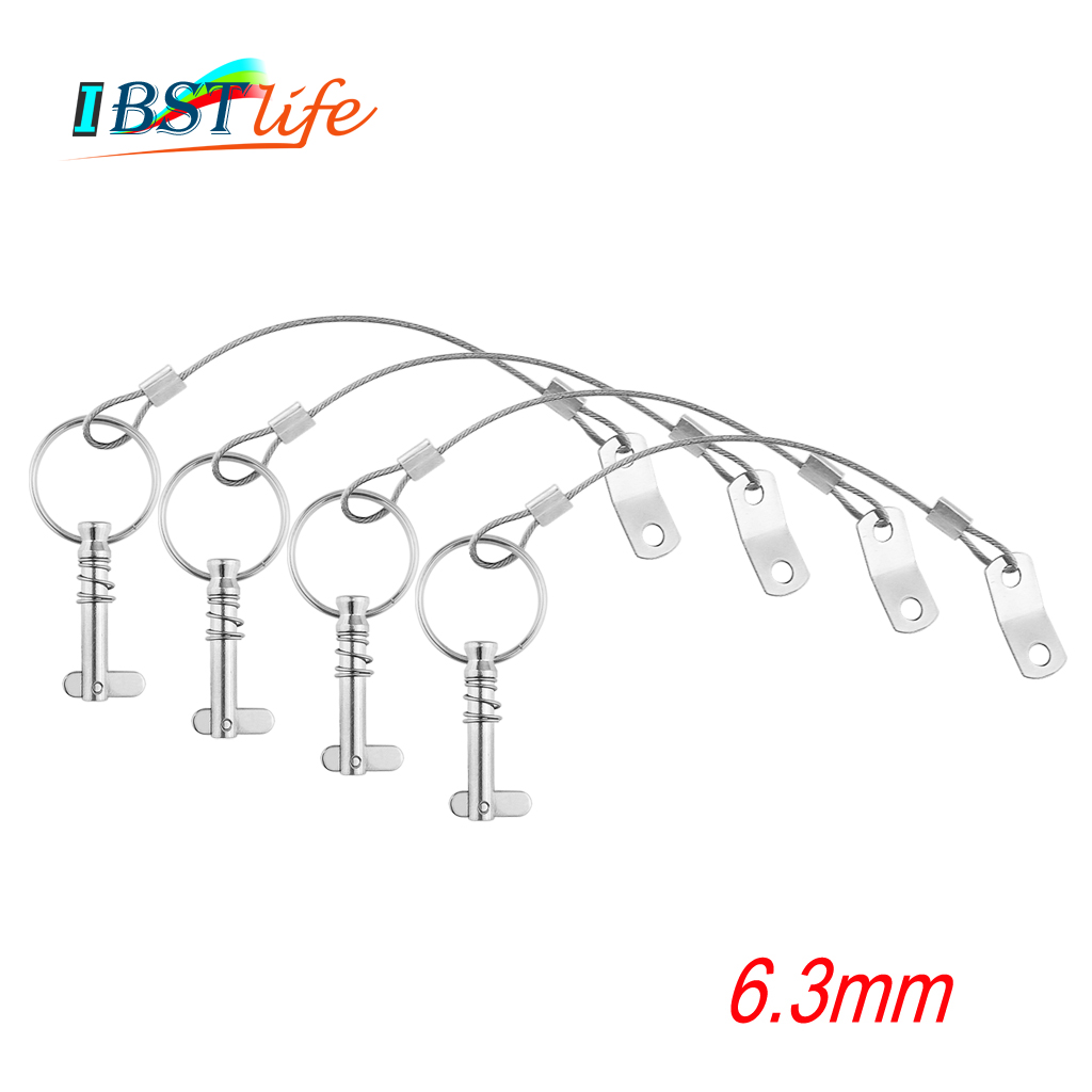4PCS 6.3mm 1/4 inch Quick Release Pin with Lanyard for <font><b>Boat</b></font> <font><b>Bimini</b></font> <font><b>Top</b></font> Deck Hinge Marine <font><b>hardware</b></font> Stainless Steel 316 image