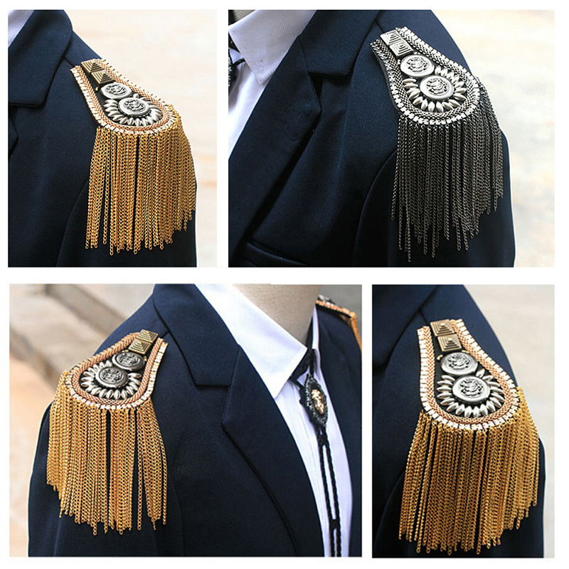 1 Pair Unisex Punk Fringe Shoulder Board Badge Glitter Rhinestone Tassels Chain Epaulet Women Men Suit Accessories