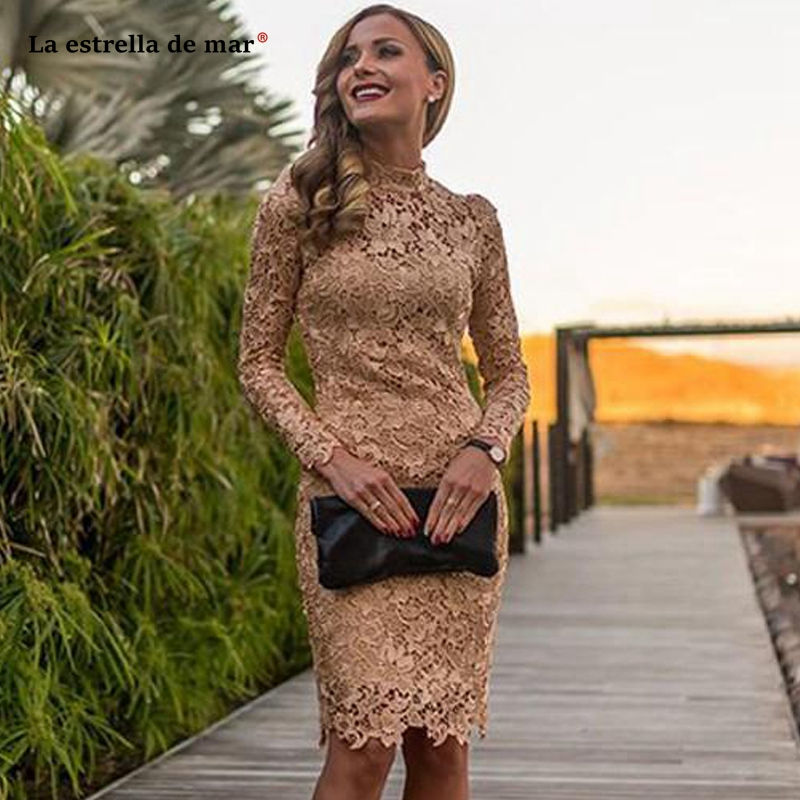 Sukienka koktajlowa new high neck lace long sleeve sexy mermaid champagne gold   cocktail     dresses   knee length prom party gown