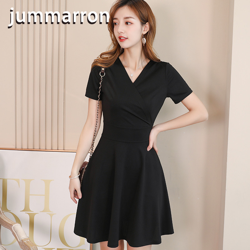 jummarron Spring summer 2020 Korean style all-around temperament ol solid color trend thin casual black <font><b>dress</b></font> woman <font><b>dress</b></font> v-neck image