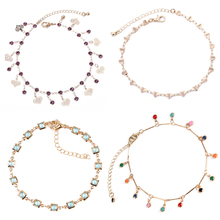 4 Pcs/ Set Trendy Classic Crystal Love Heart Chain Anklets Colored Beads Adjustable Ankle Bracelets for Women Foot Accessories