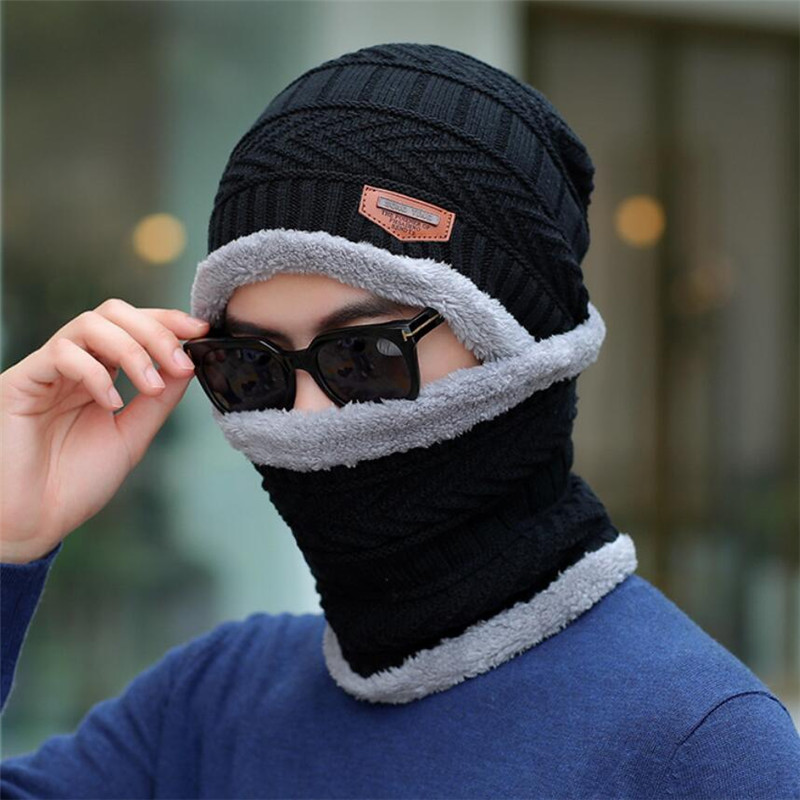 Men Winter Hat And Scarf Man Warm Knitted Plush Hat 2 Pcs Set 2019 Male Solid Beanies Cap With Ring Scarves Adult Accessorie