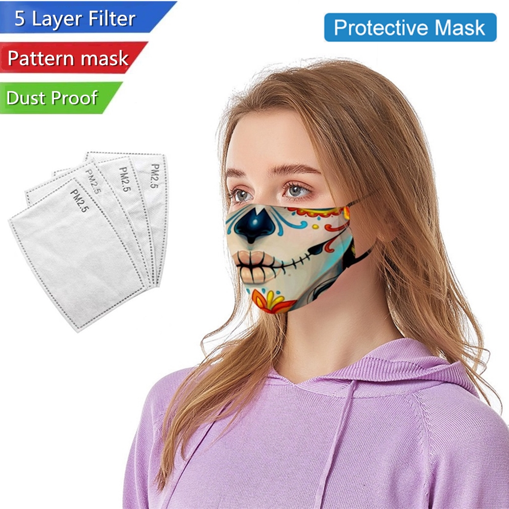 Printed Protection Mask 5 Layer Filtration PM 2.5 Filter Antibacterial Thickened Face Safety Masks Mouth Cover Washable Reusable