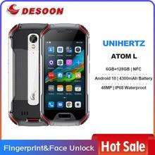 Unihertz atom l 6gb + 128gb, smartphone desbloqueado áspero android 10 rápido que carrega a câmera de 48 mp 4300mah impressão digital dupla sim nfc