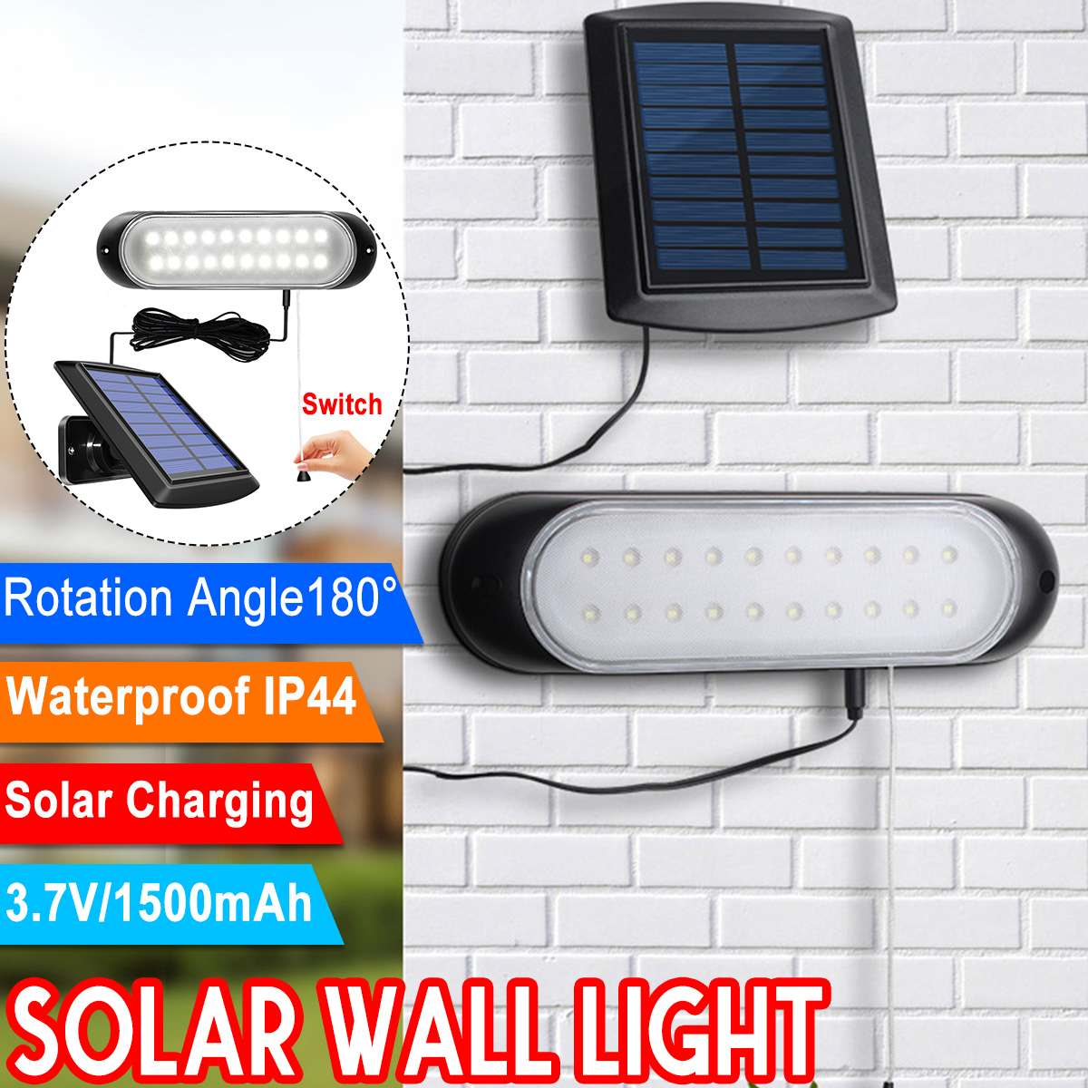 20 LED Solar Lamp Separable Solar Panel and Light With Line Waterproof Pull- Switch Lighting Available Outdoor or Indoor