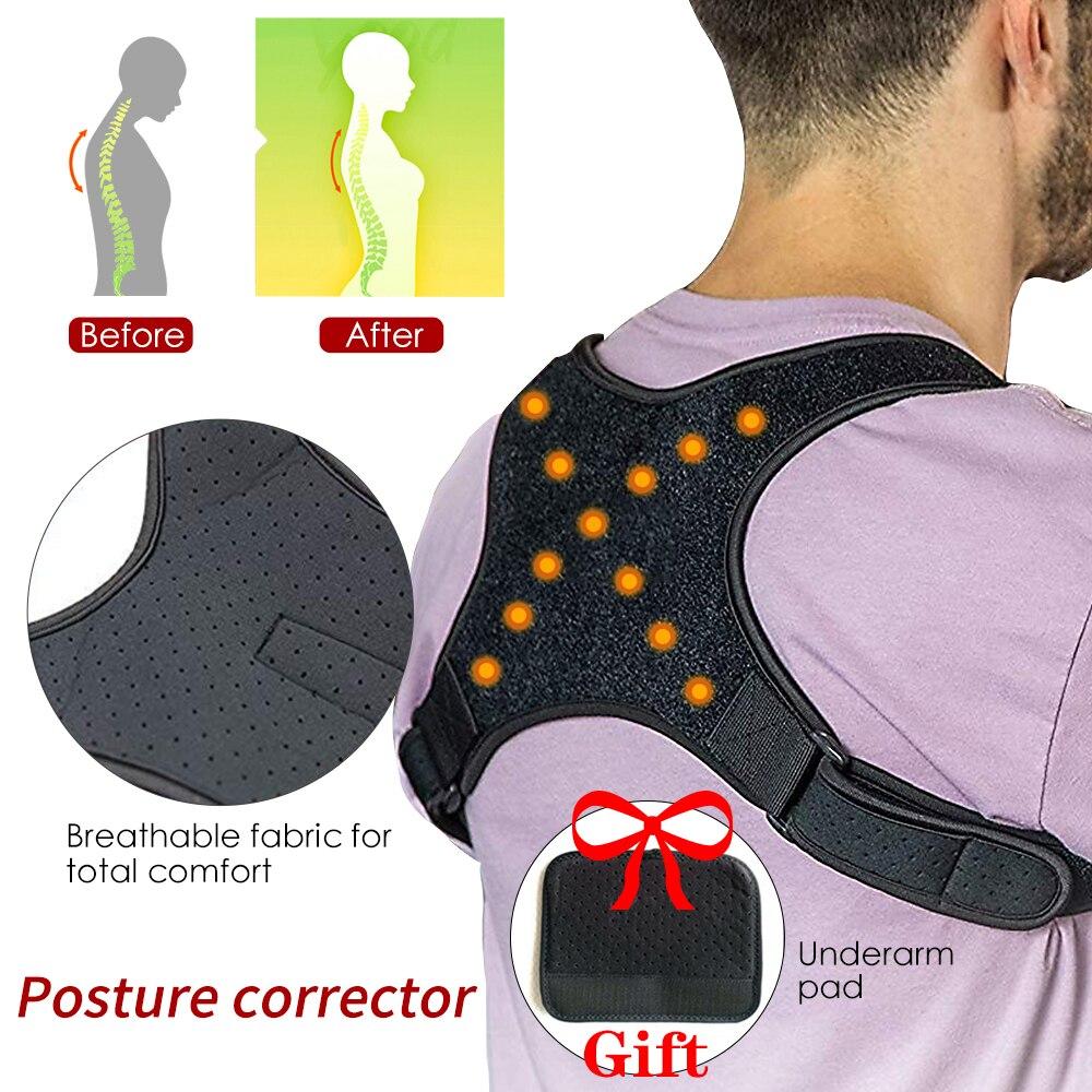 Male Female Adjustable Magnetic Posture Corrector Corset Back Brace Back Belt Lumbar Support Straight Corrector S/M/L