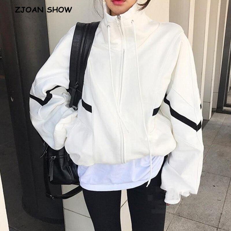 2020 Harajuku Spliced Strip Bat Sleeve Sweatshirt Women Stand Collar Open Zipper Loose Hoodies Casual Jumper Sweats Tops