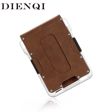 DIENQI portefeuille métal Aluminium hommes Rfid, petit porte carte magique, petit sac dargent Vintage, tripliable en cuir