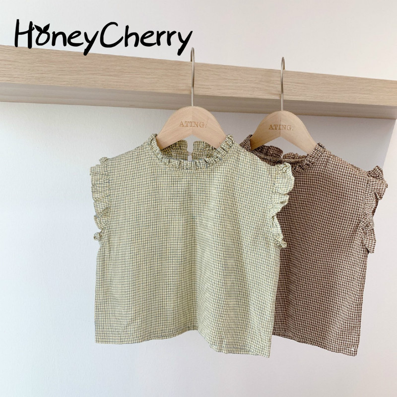 2020 Children's Summer Plaid Sleeveless Lace Shirt Girls Blouse Girls Tops And Blouses Baby Girl Clothes