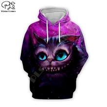 Galaxy Cheshire Cat print Men women 3d Hoodies Halloween Christmas Sweatshirt tshirt zipper cartoon pullover unisex Tracksuit