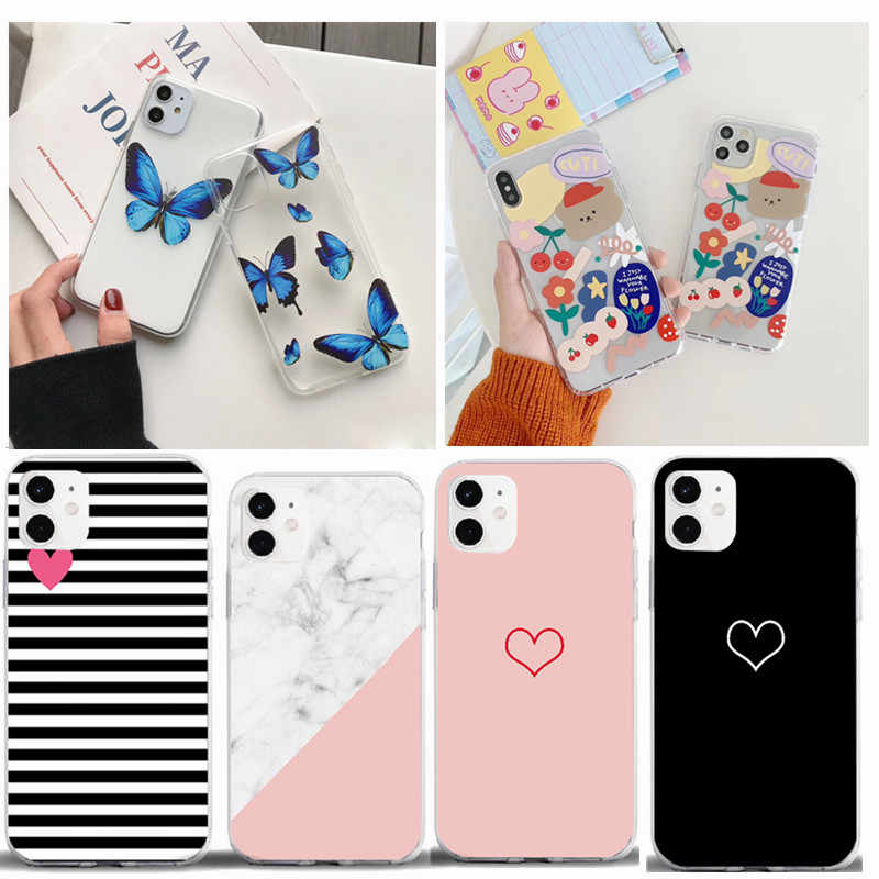 Vlinder Beer Zachte Tpu Coque Telefoon Case Voor Iphone 11 Pro Xs Max Xr X 7 8 6 6S plus 5S Se 2020 5 Case Silicon Capa Cover