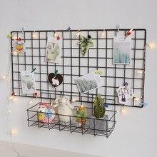 Настенное украшение Ins для дома, железная решетка, декоративная рамка, подвесная стойка, настенный демонстрационный ящик для хранения, корз...