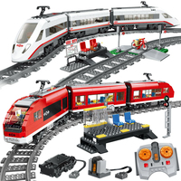 RC city High speed Passenger Train 02010 with motor building blocks technic classic train 02008 02009 bricks education kids toys