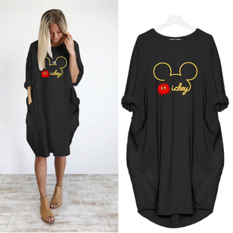 Autumn Dress Women Cartoon Printing  Pocket Loose Dresses Vintage Fall Midi Clothes Party Casual Dresses Women Plus Size Dress