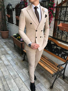 Men's Suit Tuxedos Blazer--Pants Slim-Fit Beige Wedding Double-Breasted Casual 2pieces