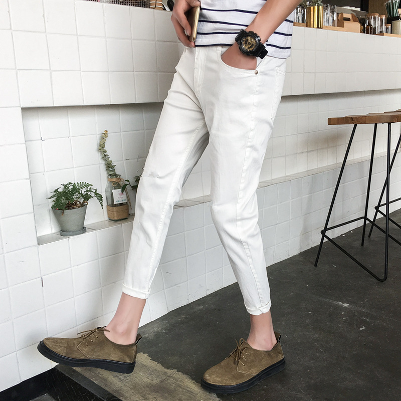 2019 Summer New Style Men Slim Fit Trend Of Fashion White Teenager Skinny Pants Capri Jeans Fashion