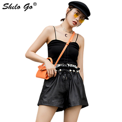 Genuine Leather Shorts Sweet Pearl Deatil Ruffles High Waist Sheepskin Wide Leg Shorts Women Autumn Casual A Line Hot Shorts