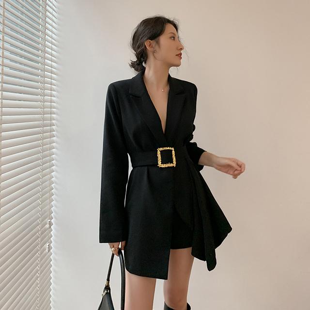 [EAM]  Women Black Printed Irregular Long Blazer New Lapel Long Sleeve Loose Fit  Jacket Fashion Tide Spring Autumn 2020 1W472