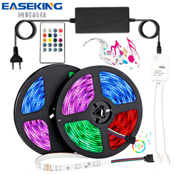 20m LED Strip Lights RGB Music Sync TV Backlight 12V 24V Flexible Ribbon With Music Contoller Smart LED Strip RGB Rope Light