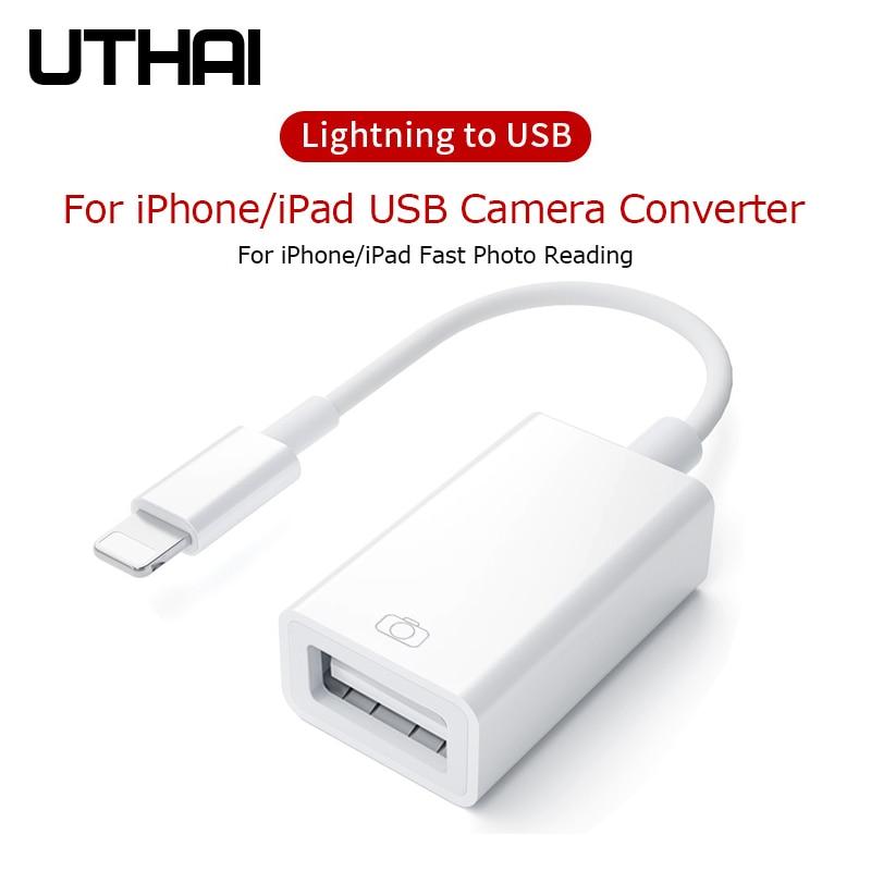 UTHAI D37 Lightning To USB OTG Adapter For Iphone Ipad USB Camera Converter For Lightning Card Reader USB3.0 Connector