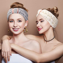 Coral Fleece Headband Soft Fleece Bow Facial Hairband Warm Elastic Hair Band for Women Girls Wash Face Turban Hair Accessories