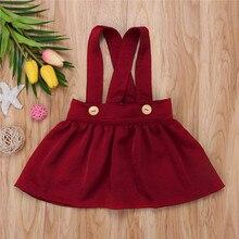 Детские комбинезоны с юбкой на подтяжках для маленьких девочек желтая/винно-красная юбка для маленьких девочек одноцветные юбки без рукавов для детей 0-3 лет