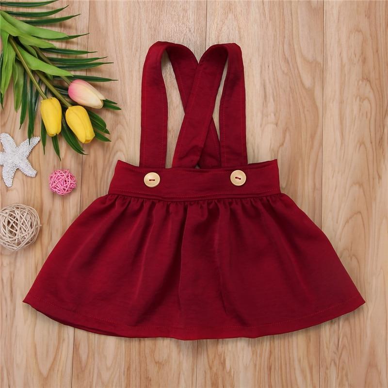 Jupe à bretelles pour petites filles | Jupe jaune/rouge vin, sans manches, pour enfants de 0-3 ans, couleur unie