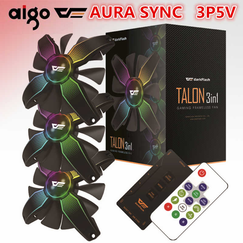 darkflash Aigo Computer PC Case Fan RGB Adjust LED Fan Speed 120mm Quiet Remote AURA SYNC Computer Cooler Cooling RGB Case Fans