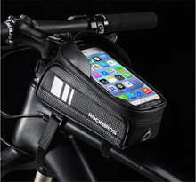ROCKBROS Cycling Waterproof TPU Touch Screen Bicycle Bag Rainproof Bike Cellphone Holder 6.0 Inch Cell Phone Handlebar
