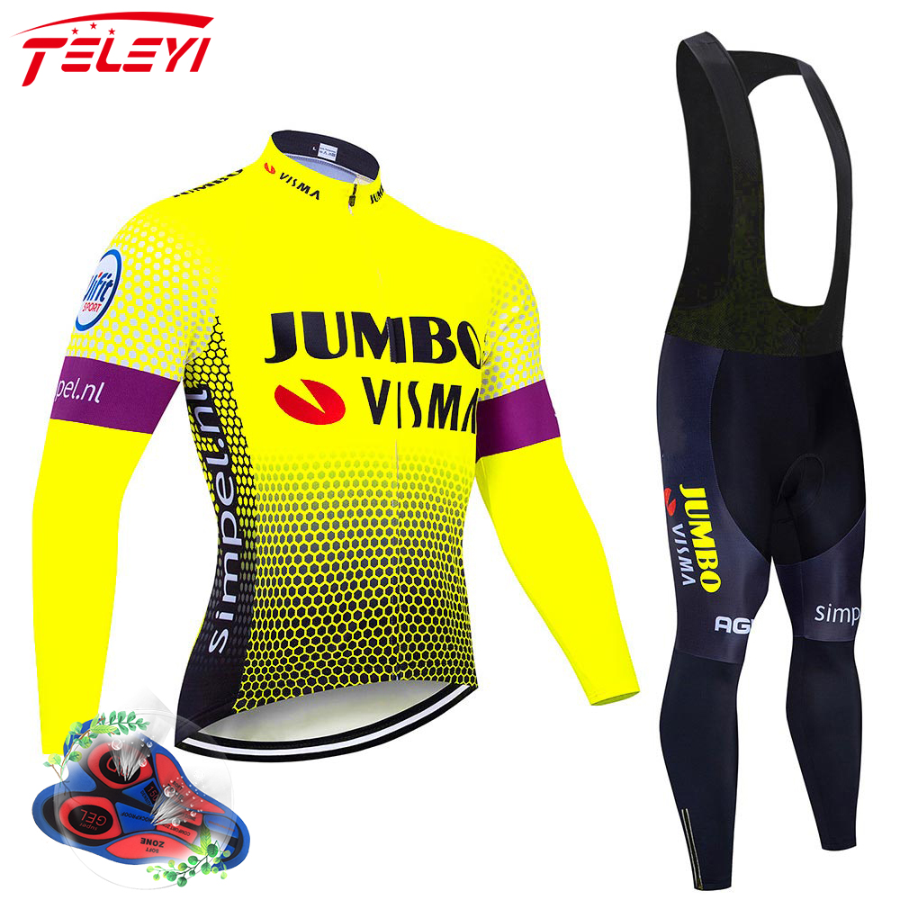 2019 LOTTO Pro Cycling Jersey Set Long Sleeve Breathable MTB Bike Clothes Wear Bicycle Cycling Clothing Ropa Maillot Ciclismo