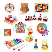Bébé Puzzle en bois labyrinthe magnétique jouets en bois Puzzles Montessori apprentissage précoce bébé jouets pour 0 12 mois singe labyrinthe