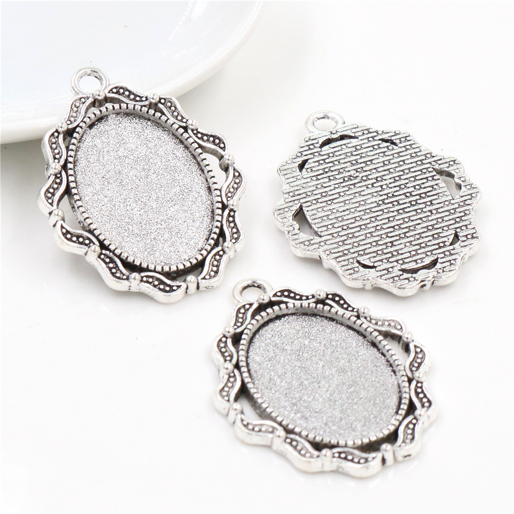 4pcs 18x25mm Inner Size Antique Silver Plated Flowers Style Cameo Cabochon Base Setting Pendant Necklace Findings  (C2-35)