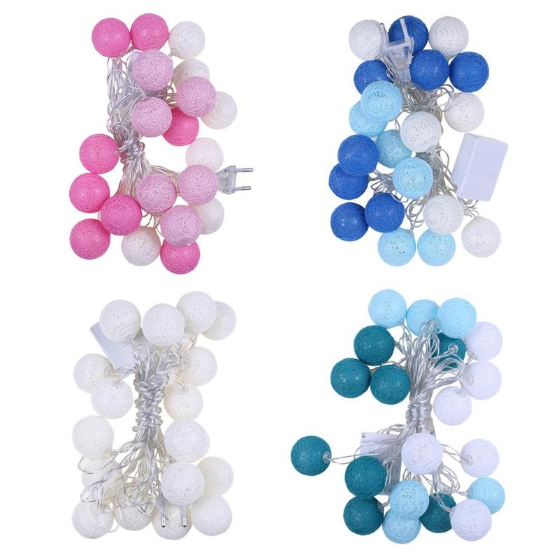 EU 20LED Cotton Ball Lamp String Rattan Ball Lamp Bedroom Room Holiday Christmas Party Wedding Layout Line Ball Decoration Lamp