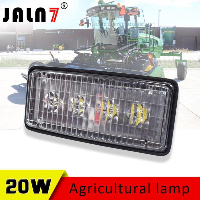 1PCS 20W Rectangle Lamp 4 Leds Tractor Forestry LED Agricultural Vehicles Work Light For John Deere Case IH Truck Headlight