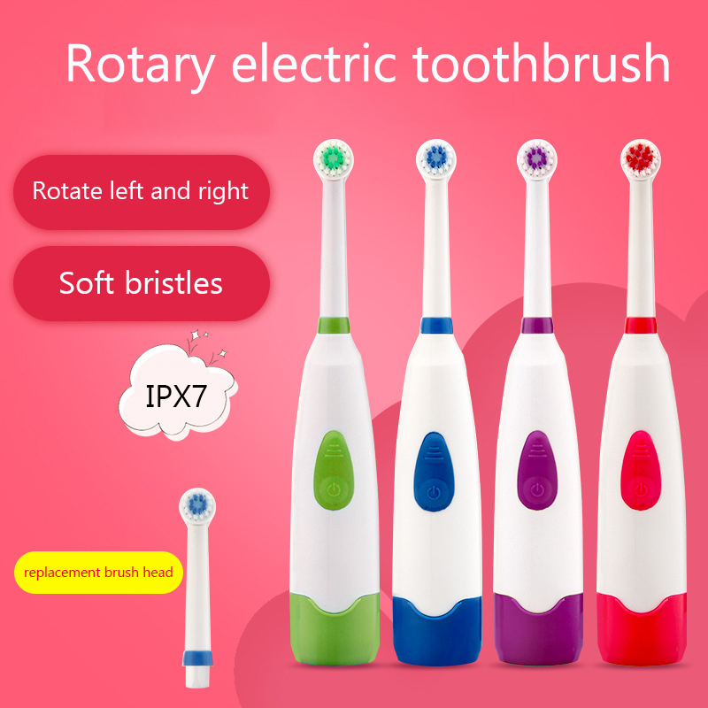 Rotary Electric Safety Toothbrush For Children Adult Vibration Waterproof Toothbrush Household Soft Automatic Toothbrush Battery