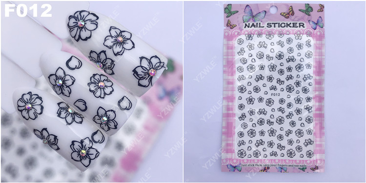 Currently Available Wholesale Ultra-Thin Gum Manicure Stickers Nail Sticker Nail Ornament Black And White Flower F012 Black