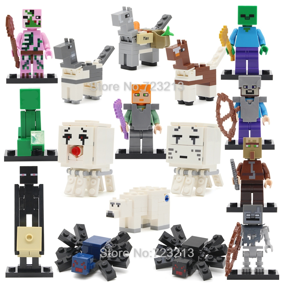 Single Sale Cartoon Figure Spider People Villager Bear Horse Building Blocks Set Model Bricks Toys For Children