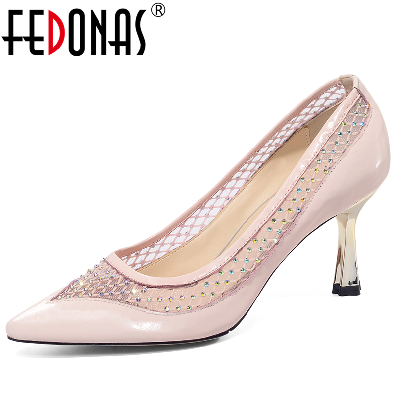 FEDONAS New Euro Style Mature Elegant Concise Women Cow Patent Leather Pumps Mesh Rhinestone Party Wedding Shallow Shoes Woman