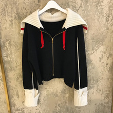 Autumn Sweater New V-neck Long Sleeve Zipper Pull-rope Knitted Cardigan 2019 Turn-down Collar Cardigans Women
