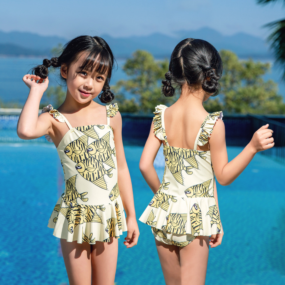 19 New Style Hot Sales Dress Bathing Suit Send Swimming Cap Tropical Fish Small Fresh New Super Cute Hot Springs Girls KID'S Swi