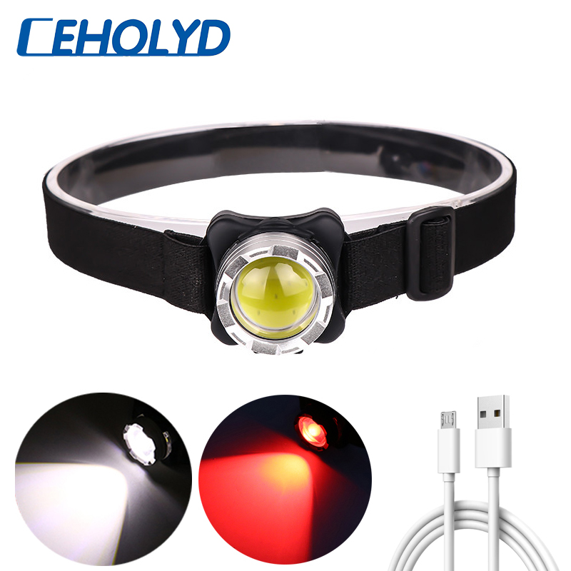Permalink to Powerful Headlamp USB Rechargeable Headlight COB LED Head Light with Built-in Battery Waterproof Head Lamp White Red Lighting