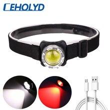 Farol poderoso usb recarregável farol cob led head light com bateria embutida à prova dwaterproof água lâmpada de cabeça branco iluminação vermelha