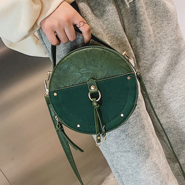 2020 Vintage round bag Designer Womens Scrub PU Leather Round Shoulder Crossbody Bags Ladies Small Hand bags Mini Tote Bagfemale Uncategorized Fashion & Designs Ladies Bags Luggage & Bags Women's Fashion
